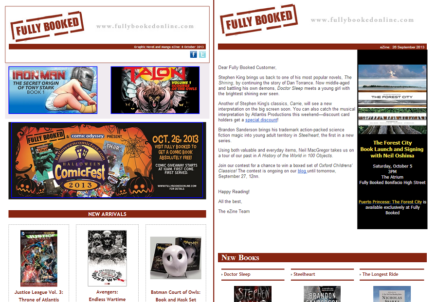 Examples of Fully Book's e-newsletters