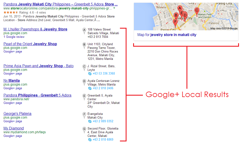"""Google+ Local search results for """"jewelry store in makati city"""""""