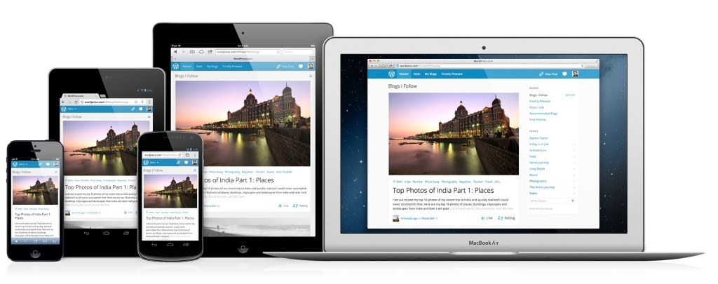 An example of responsive webdesign from WordPress.com