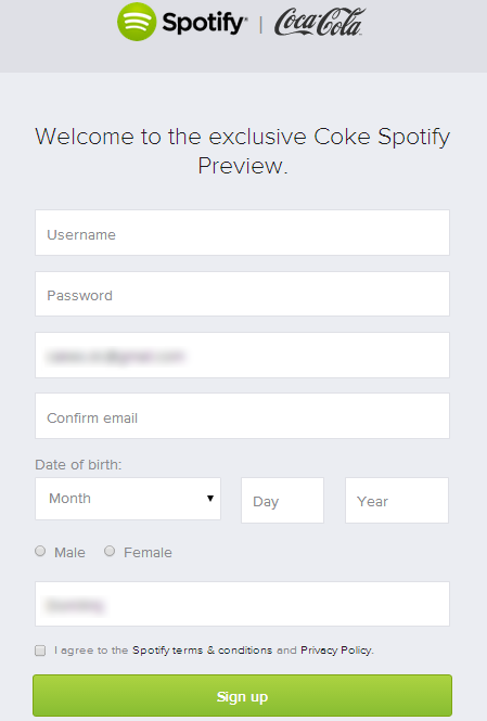 Spotify's signup page exclusive to Coca-Cola fans