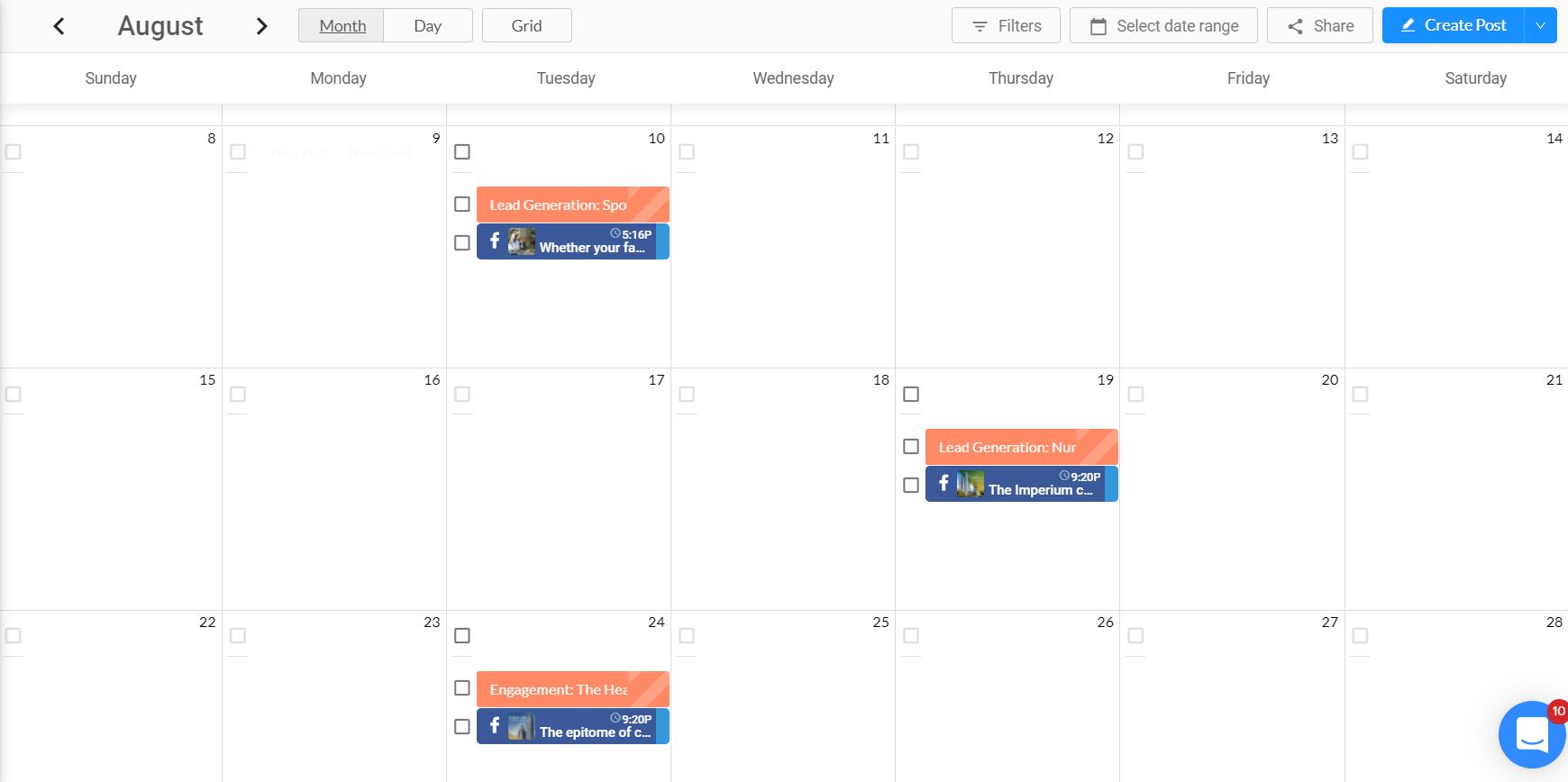 social media content calendar sample